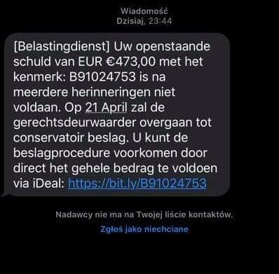 Belastingdienst falszywy sms