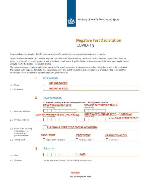 Negative test declaration WZÓR