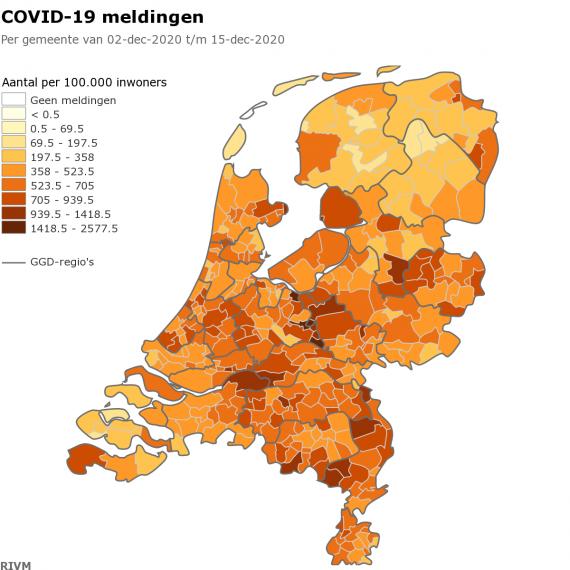 Grudzień 2020 zarażenia Covid-19 Holandia