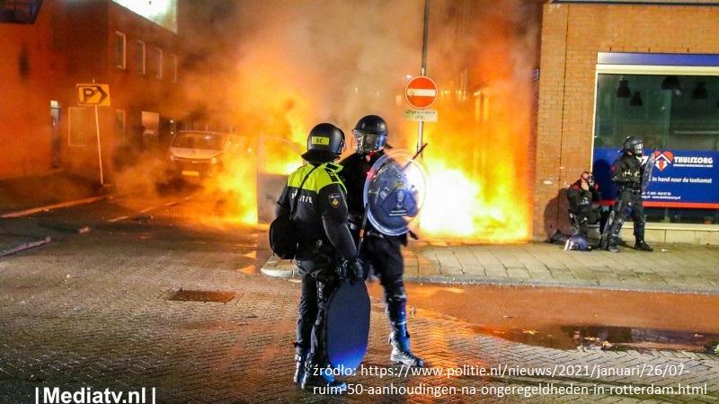 splądrowane sklepy i zamieszki w Rotterdamie