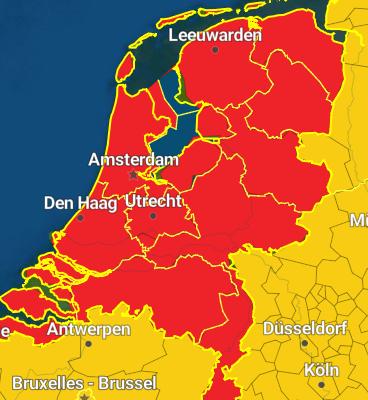 kod czerwony w całej Holandii